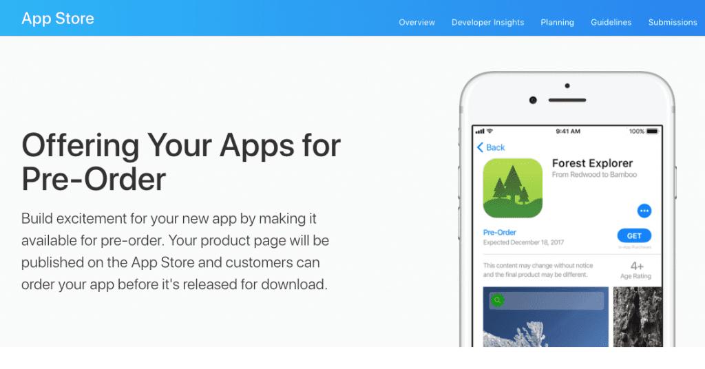 app store pre-orders